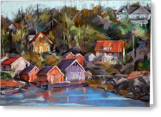 Norway Village Greeting Cards - Coastal Village Greeting Card by Joan  Jones