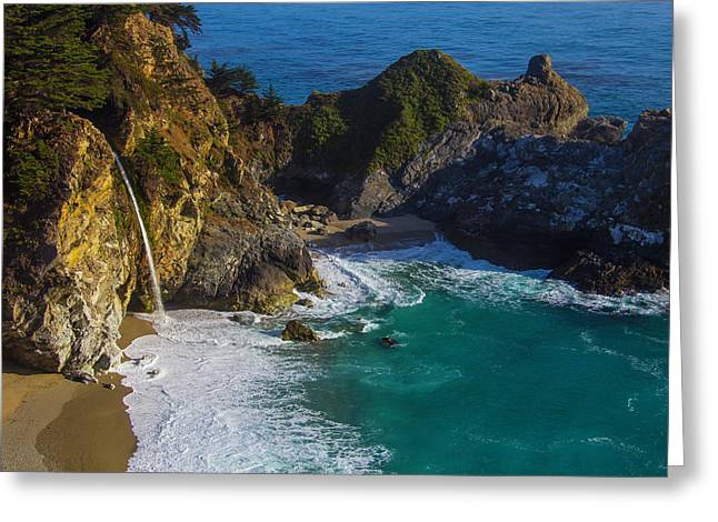 Coastal Waterfall Greeting Card by Garry Gay