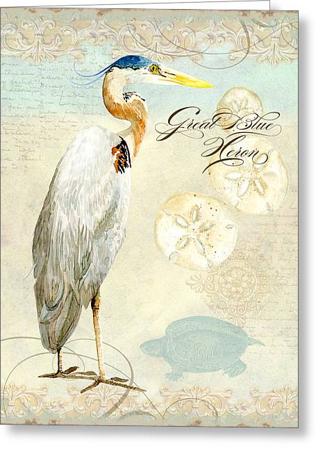 Coastal Waterways - Great Blue Heron 3 Greeting Card by Audrey Jeanne Roberts