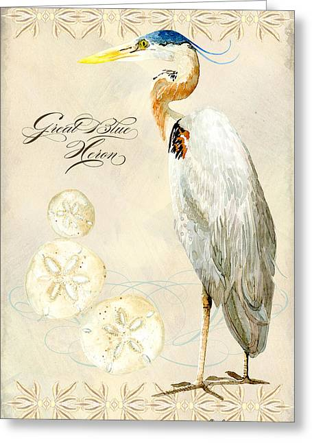 Great Birds Greeting Cards - Coastal Waterways - Great Blue Heron Greeting Card by Audrey Jeanne Roberts