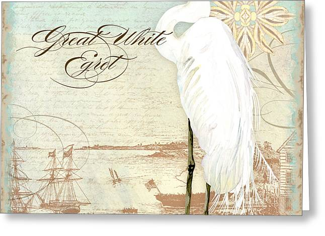 Clippers Paintings Greeting Cards - Coastal Waterways - Great White Egret 2 Greeting Card by Audrey Jeanne Roberts