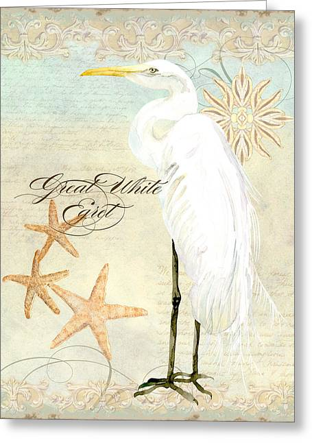 Coastal Waterways - Great White Egret 3 Greeting Card by Audrey Jeanne Roberts