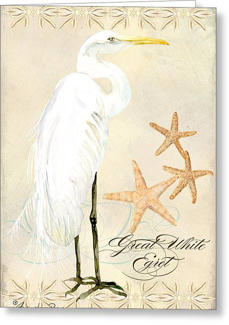 Shell Pattern Greeting Cards - Coastal Waterways - Great White Egret Greeting Card by Audrey Jeanne Roberts