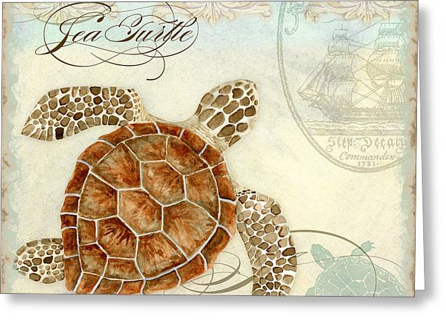 Sand Patterns Greeting Cards - Coastal Waterways - Green Sea Turtle 2 Greeting Card by Audrey Jeanne Roberts