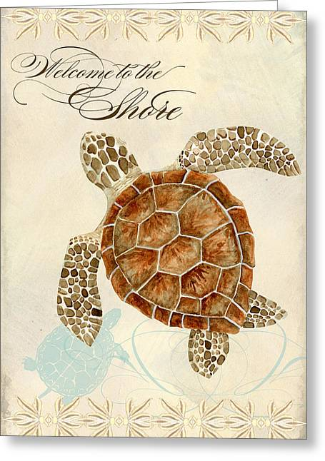 Green Sea Turtle Greeting Cards - Coastal Waterways - Green Sea Turtle Greeting Card by Audrey Jeanne Roberts