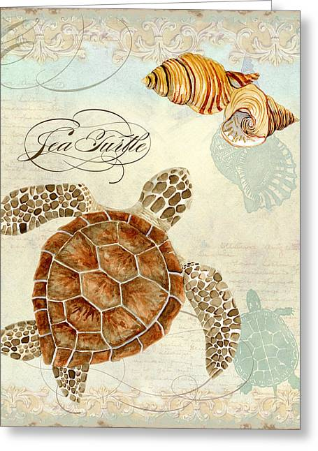 Spa Artwork Greeting Cards - Coastal Waterways - Green Sea Turtle Rectangle 2 Greeting Card by Audrey Jeanne Roberts