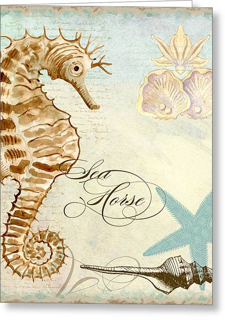 Sand Patterns Greeting Cards - Coastal Waterways - Seahorse 2 Greeting Card by Audrey Jeanne Roberts
