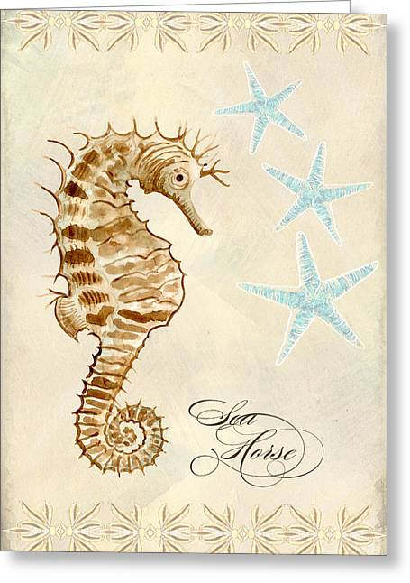 Decorative Fish Greeting Cards - Coastal Waterways - Seahorse Dance Greeting Card by Audrey Jeanne Roberts