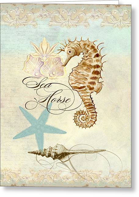 Ocean Shore Mixed Media Greeting Cards - Coastal Waterways - Seahorse Rectangle 2 Greeting Card by Audrey Jeanne Roberts