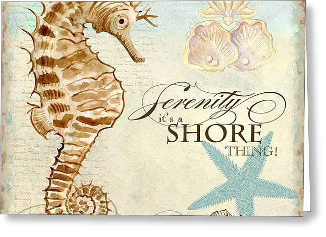 Sea Horse Paintings Greeting Cards - Coastal Waterways - Seahorse Serenity Greeting Card by Audrey Jeanne Roberts