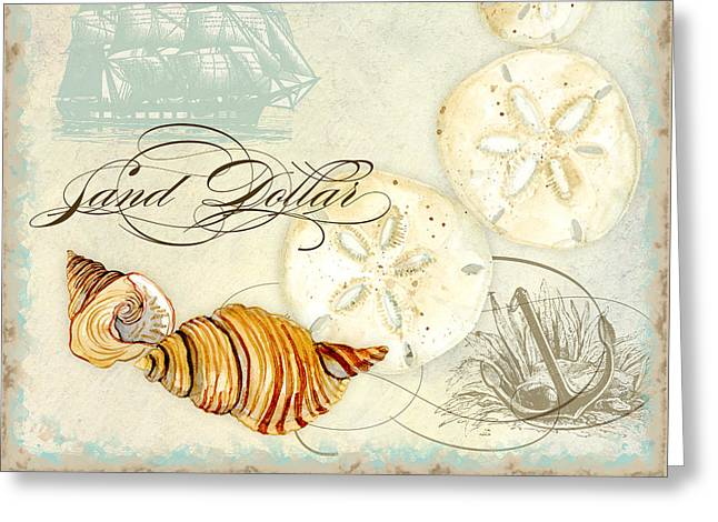 Sand Patterns Greeting Cards - Coastal Waterways - Seashells Greeting Card by Audrey Jeanne Roberts