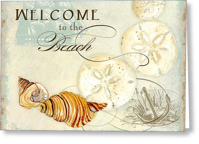 Masts Greeting Cards - Coastal Waterways - Seashells Welcome Greeting Card by Audrey Jeanne Roberts