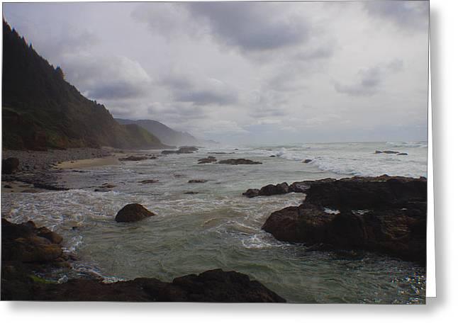 Foggy Beach Greeting Cards - Coastline Greeting Card by Adria Trail