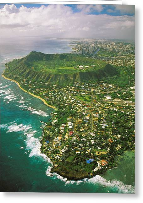 Tropical Golf Course Greeting Cards - Coastline And Diamond Head Greeting Card by Tomas del Amo - Printscapes