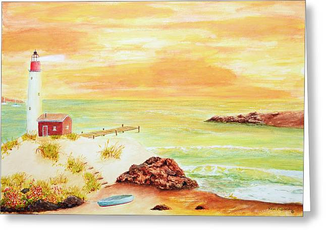 Snorkel Greeting Cards - Coastline lighthouse Greeting Card by Ken Figurski