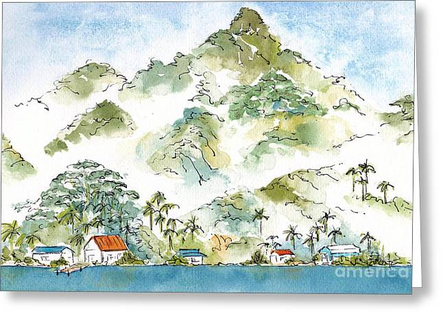 Sea And Sky Greeting Cards - Coastline Moorea Greeting Card by Pat Katz