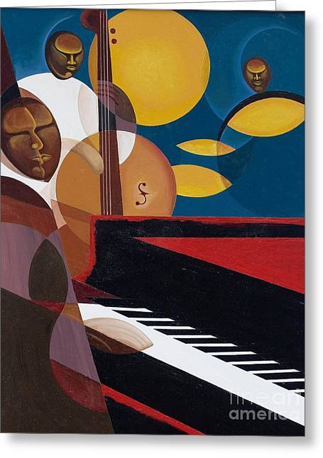 Jazz Pianist Greeting Cards - Cobalt Jazz Greeting Card by Kaaria Mucherera