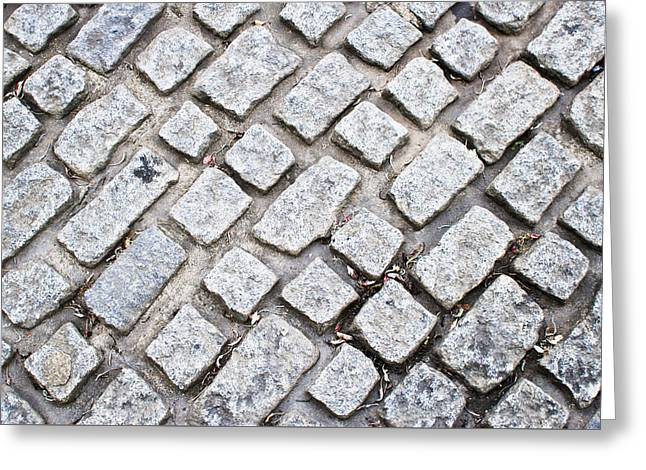 Old Street Greeting Cards - Cobbled road Greeting Card by Tom Gowanlock