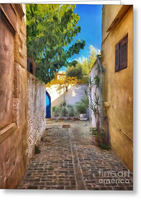 Cobblestone Road In Crete Greeting Card by HD Connelly