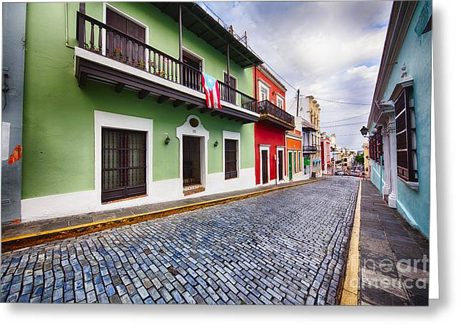 Cobblestone Street With Colorful Houses Greeting Card by George Oze