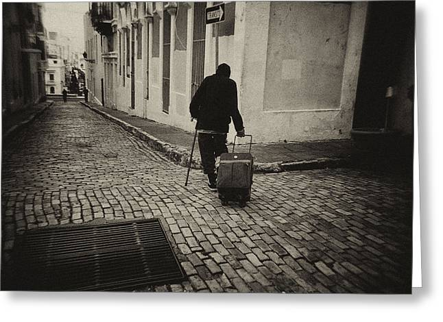 Old San Juan Greeting Cards - Cobblestone Terminal Greeting Card by Mauricio Jimenez