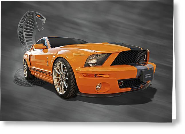 Shelby Mustangs Greeting Cards - Cobra Power - Shelby GT500 Mustang Greeting Card by Gill Billington