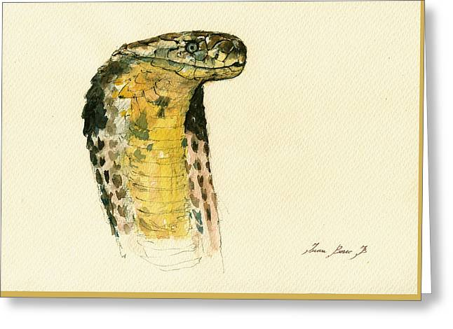 Cobra Poster Greeting Cards - Cobra snake poster Greeting Card by Juan  Bosco