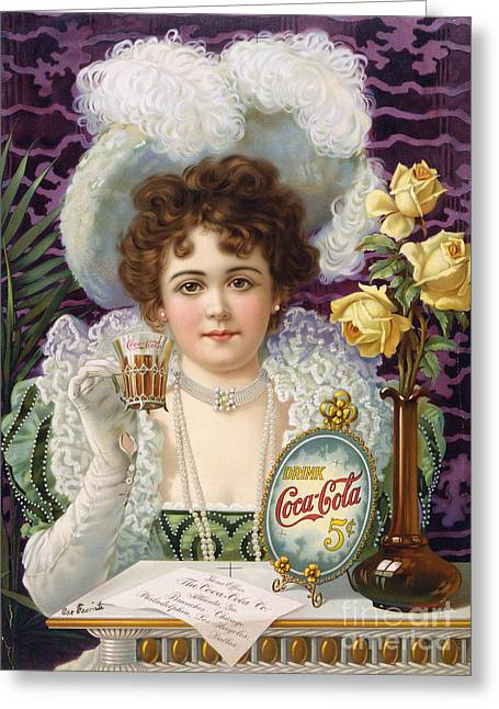1890s Greeting Cards - COCA-COLA AD, 1890s Greeting Card by Granger