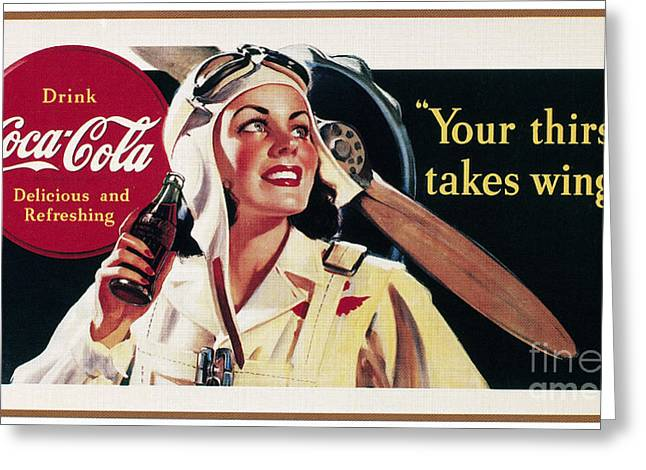 Bottle Cap Greeting Cards - Coca-cola Ad, 1941 Greeting Card by Granger