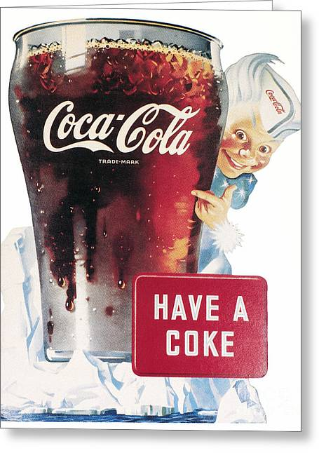 1945 Greeting Cards - Coca-cola Ad, 1945 Greeting Card by Granger