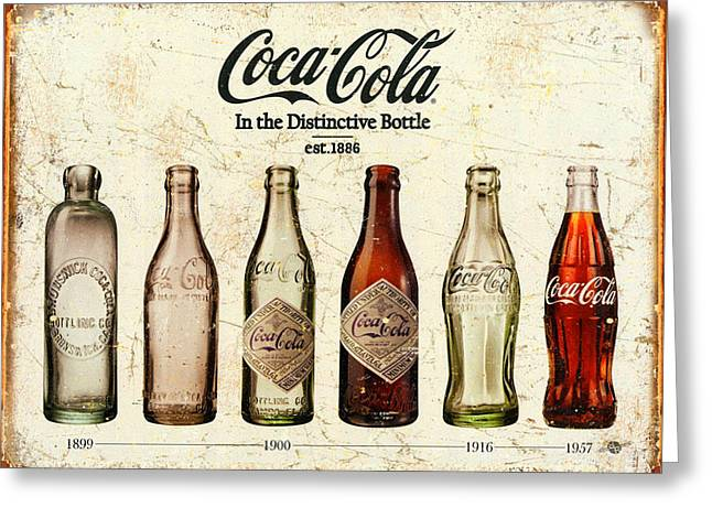 Coca-cola Bottle Evolution Vintage Sign Greeting Card by Tony Rubino