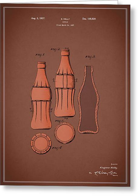 Food And Beverage Greeting Cards - Coca Cola Bottle Patent 1937 Greeting Card by Mark Rogan