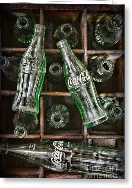 Glass Bottle Greeting Cards - Coca Cola Bottles in a Vintage Crate Greeting Card by Paul Ward