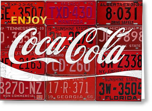 Soft Drink Greeting Cards - Coca Cola Enjoy Soft Drink Soda Pop Beverage Vintage Logo Recycled License Plate Art Greeting Card by Design Turnpike