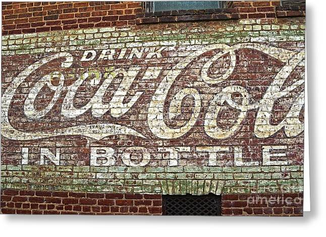 Coca Cola.coke-a-cola Greeting Cards - Coca Cola Fading Away Greeting Card by JW Hanley
