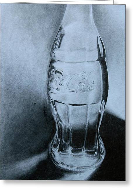Fine Bottle Drawings Greeting Cards - Coca-Cola for you  Greeting Card by Angelina G T