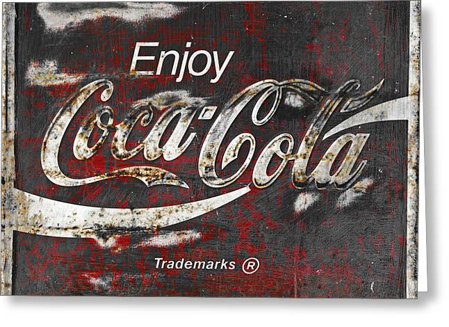 Antiques Sign Greeting Cards - Coca Cola Grunge Sign Greeting Card by John Stephens