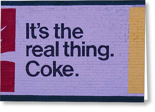 The Real Thing Greeting Cards - Coca-Cola painted sign Greeting Card by Chris Flees