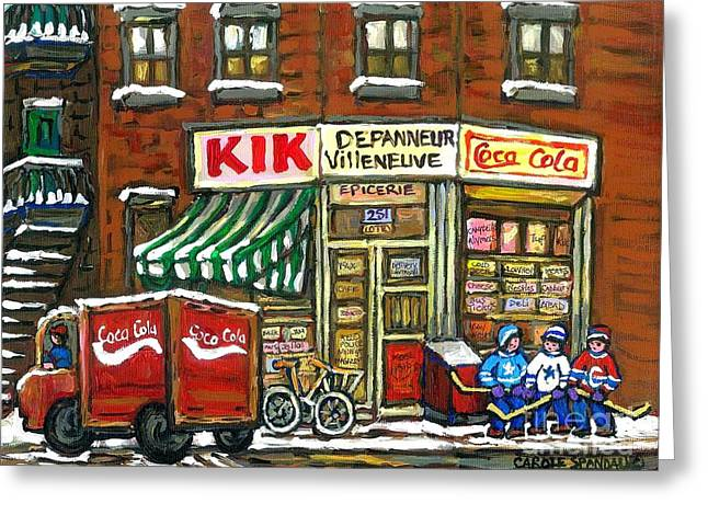 Old Montreal Greeting Cards - Coca Cola Truck Rue Villeneuve Kik Cola Depanneur Montreal Hockey Art Best Canadian Paintings Greeting Card by Carole Spandau