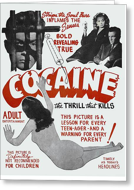 Cocaine ... The Thrill That Kills Lobby Poster 1948 Greeting Card by Daniel Hagerman