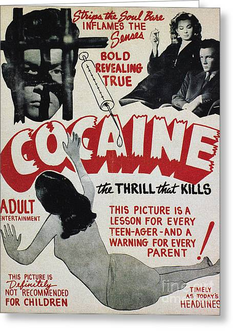 Film Noir Greeting Cards - COCAINE MOVIE POSTER, 1940s Greeting Card by Granger