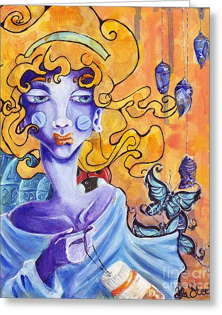 Bipolar Paintings Greeting Cards - Coccooned Greeting Card by Ela Steel