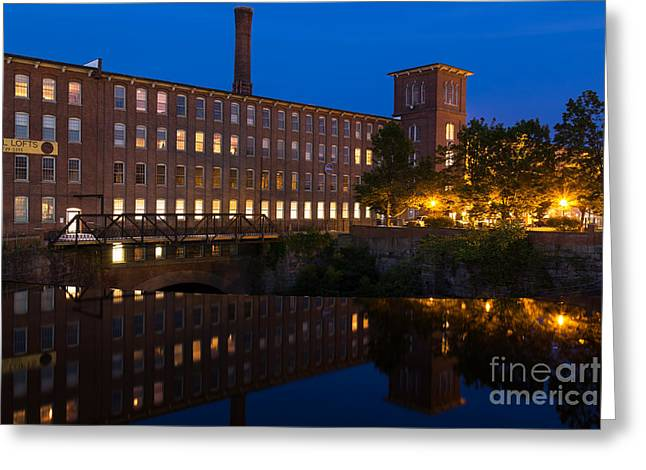 Textile Photographs Greeting Cards - Cocheco Mills at Blue Hour Dover New Hampshire Greeting Card by Dawna  Moore Photography
