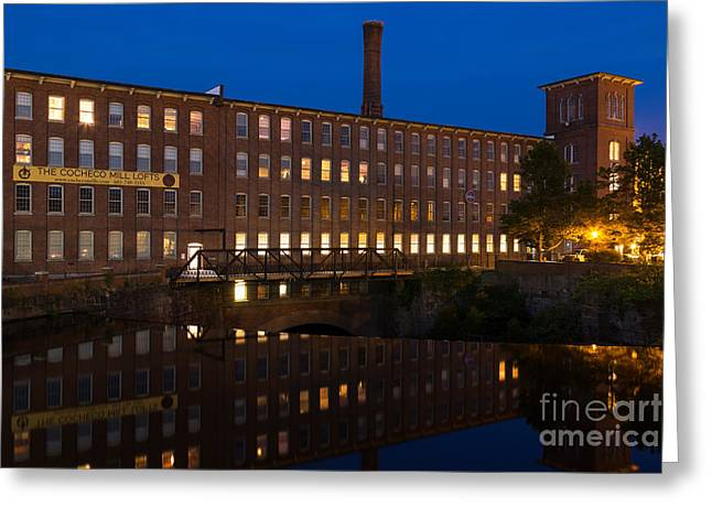 Textile Photographs Greeting Cards - Cocheco Mills at Twilight Dover New Hampshire Greeting Card by Dawna  Moore Photography