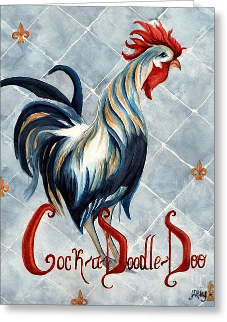 Cock A Doodle  Doo - Fancy Rooster Greeting Card by Janine Riley