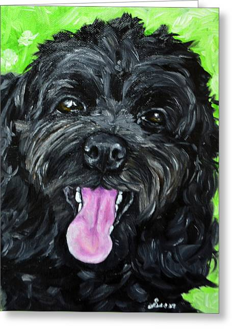 Custom Commissioned Pet Portrait From Photos Greeting Cards - Cockapoo Painting Greeting Card by Sun Sohovich