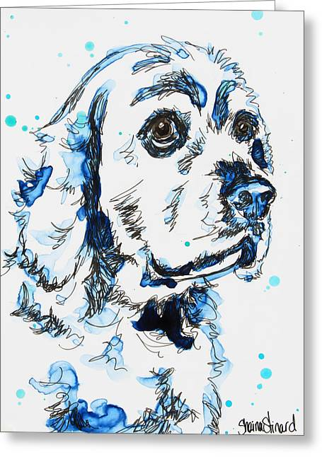 Cocker Spaniel In Blue Greeting Card by Shaina Stinard