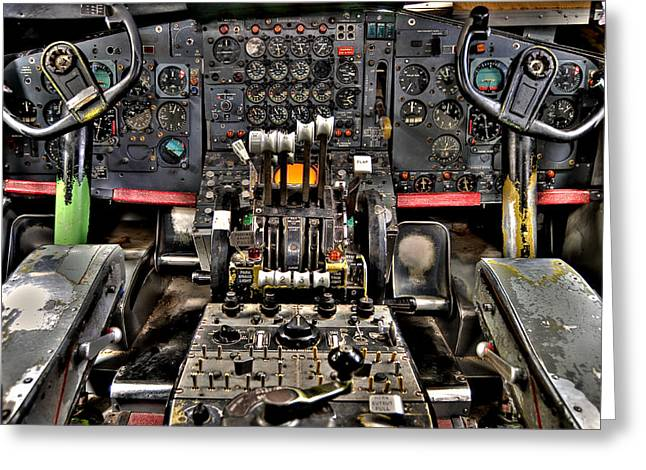 Trainer Greeting Cards - Cockpit Controls HDR Greeting Card by Kevin Munro
