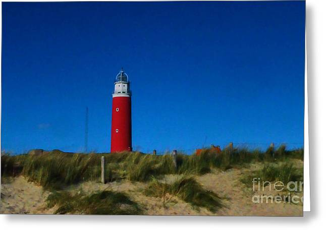 Dutch Lighthouse Greeting Cards - Cocksdorp Lighthouse Greeting Card by Mim White