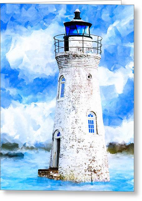 White River Mixed Media Greeting Cards - Cockspur Island Light - Georgia Coast Greeting Card by Mark Tisdale